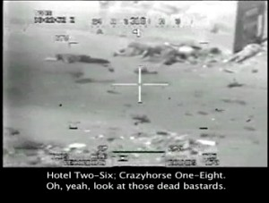 Screen shot from the video  of U.S. Army forces shooting dead Reuters journalists, released by Bradley Manning.