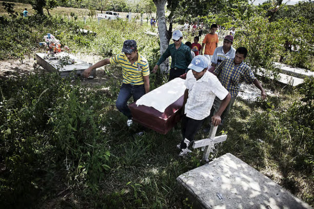 The funeral of a campesino and land reform activist, killed by paramilitaries allegedly acting on behalf of Miguel Fancusse Barjum, whose company received millions of dollars in loans from the World Bank's International Finance Corporation.