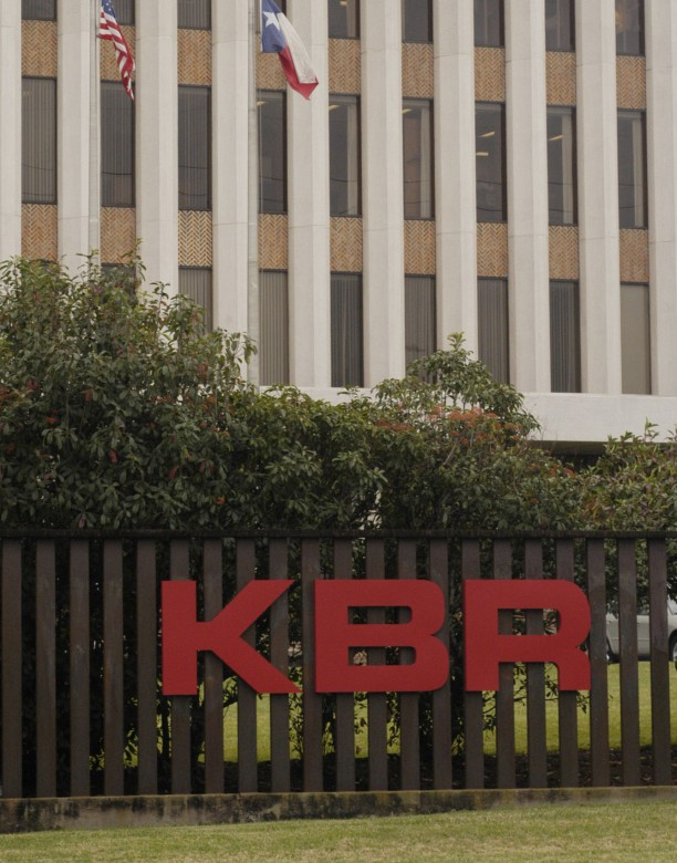 A KBR (Kellogg, Brown and Root) sign adorns the Halliburton corporate headquarters near downtown Houston, December 12, 2003. The company has removed the Halliburton name from the building and renamed it KBR amid controversy that surrounds the company's White House links and overbilling the government for military contracts in Iraq.