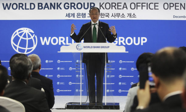 World Bank President Jim Yong Kim speaks at a ceremony opening the group's Korea office in Songdo, South Korea in December.