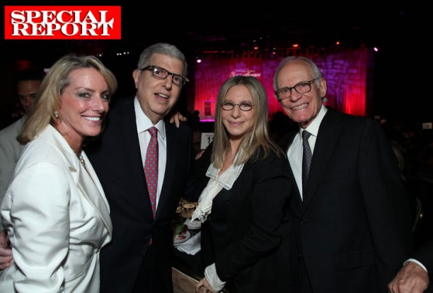 From left to right: Ambassador Elizabeth Bagley, Marvin Hamlisch, Barbra Streisand and Alan Bergman attending the Cedars-Sinai Board of Governors Gala in November 2011 at The Beverly Hilton Hotel in Beverly Hills, California.